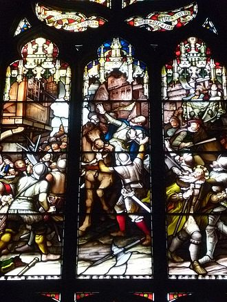 James Stewart, 1st Earl of Moray - Assassination of the Regent Moray. Victorian stained glass window in St. Giles Kirk, Edinburgh.