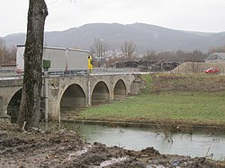 A bridge over the Reka at the outskirt of Ilirska Bistrica