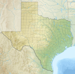 A map of Texas showing the location of Fort Boggy State Park