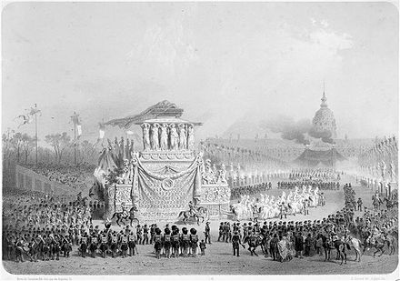 Procession carrying Napoleon's remains through Paris (15 December 1840). The return and ceremony were meticulously prepared by Thiers, though he was no longer Minister Retour des Cendres - 6.jpg