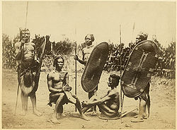 Zande men with shields, harp
