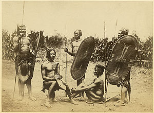 Zande people - Zande men with shields, harp