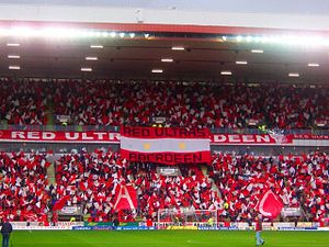 Aberdeen F.C. - A display by Aberdeen fans in the Richard Donald Stand