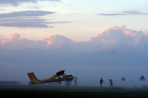 Ridali Airfield - Wilga tow plane at Ridali airfield in the evening.