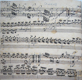 Toccata and Fugue in D minor, BWV 565 - Beginning of BWV 565 in Johannes Ringk's manuscript, the only extant 18th-century copy of the work