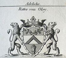 Wappen des Adelsgeschlechtes von Olry (Quelle: Wikimedia)