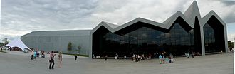 Riverside Museum - A panoramic view of the front of the building.