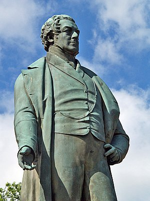 Peel Memorial, Bury - Image: Robert Peel statue, Bury