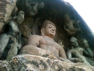 History of Buddhism in India - Rock-cut Lord Buddha Statue at Bojjanakonda near Anakapalle of Visakhapatnam district in Andhra Pradesh.
