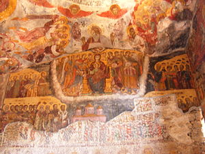 Frescoes on the inner wall of the Rock Church ...