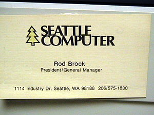 Seattle Computer Products - Rod Brock's business card