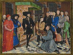Rogier van der Weyden: Jean Wauquelin presenting his 'Chroniques de Hainaut' to Philip the Good