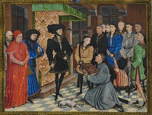 Presentation miniature - Rogier van der Weyden, Jean Wauquelin presenting his 'Chroniques de Hainaut' to Philip the Good, c 1448