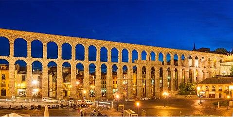 Roman Aqueduct Segovia night Spain