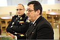 Romanian navy Capt. Cmdr. Octavian Tarabuta, the vice dean for international relations at the Romanian Naval Academy, explains his perspective on leadership during a seminar with U.S. Marines Jan. 10, 2014 140110-M-DP395-140.jpg