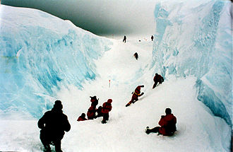 Ross Ice Shelf - Crevasse, Ross Ice Shelf in 2001.