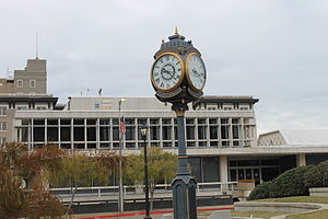 Alexandria, Louisiana - Rotary International Clock (1916), with Alexandria City Hall (constructed 1963) in the background