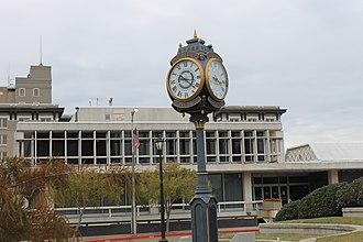Alexandria, Louisiana - Rotary International Clock (1916), with Alexandria City Hall (constructed 1963) in the background