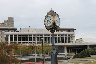 Rotary International Clock (1916), with Alexandria City Hall (constructed 1963) in the background Rotary Club clock (1916) with Alexandria City Hall in background IMG 4314.JPG