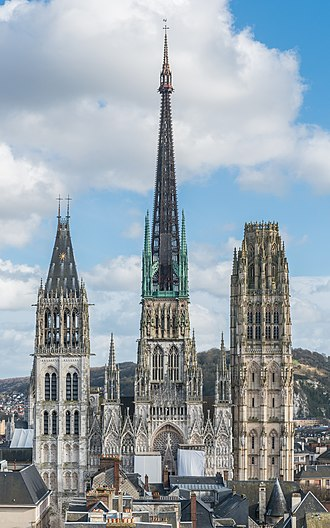 Rouen Cathedral - Image: Rouen Cathedral as seen from Gros Horloge 140215 4