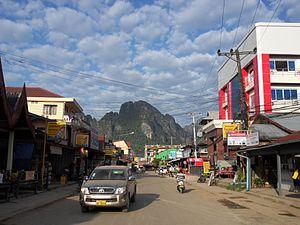 Straße in Vang Vieng