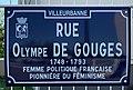 Rue Olympe de Gouges (Villeurbanne) - panneau de rue.jpg