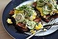 Rugbrød med røget makrel og røræg (8869093161).jpg