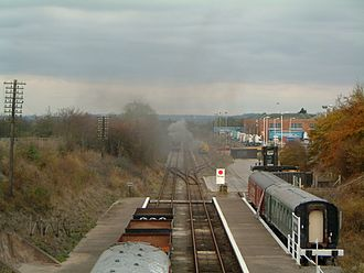 Great Central Railway (Nottingham) - Rushcliffe Halt Station looking north towards Ruddington