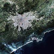 Imagem de satélite focalizando a região metropolitana da Grande São Paulo.