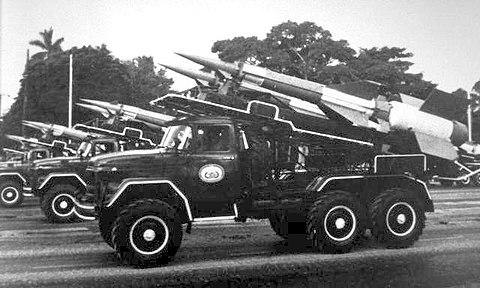 "Cuban S-125 ""SA-3 Goa"" missile systems on parade. Many were shipped to Angola in 1988 to provide air cover for Castro's offensive. SA-3 Goa Cuba.JPG"