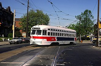 SEPTA Route 53 - A SEPTA Route 53 trolley turns from Pulaski Avenue to Erie Avenue in April 1985