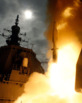 Japan Self-Defense Forces - JS Kongō (DDG-173) firing a Standard Missile 3 anti-ballistic missile to intercept a target missile launched from the Pacific Missile Range Facility on December 17, 2007