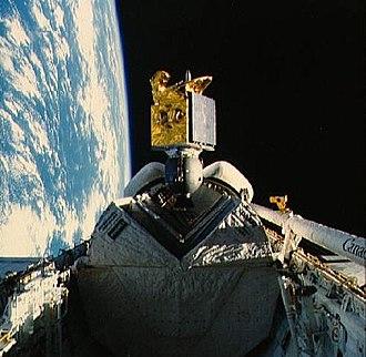 STS-51-I - Image: STS 51 I ASC 1 deployment