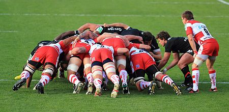 A rugby football scrum