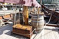 Saga Farmann Klåstadskipet viking ship replica built 2018 mast yard sail barrel ropes chest Tønsberg harbour havn brygge pier brygga Oseberg kulturhus Quality hotel etc Norway 2019-08-16 04277.jpg