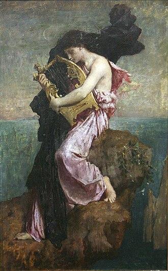 Jules-Élie Delaunay - Sappho kissing her lyre, oil on canvas