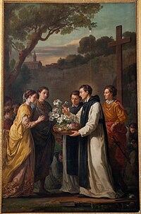 Saint Thibaut offrant à Saint Louis et Marguerite de Provence un lys à onze branches - Le Petit Trianon.jpg