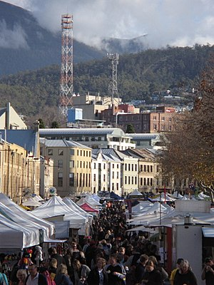 Salamanca Place - Salamanca Market, looking north towards Mount Wellington