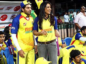 Arya (actor) - Arya with Sameera Reddy at CCL 2012