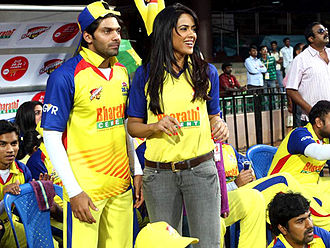 Arya (actor) - Arya with Sameera Reddy at CCL 2012
