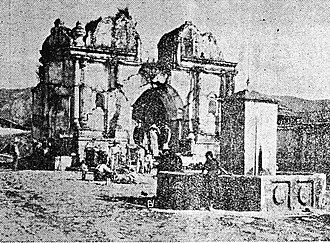 San Pedro Sacatepéquez, San Marcos - San Pedro Sacatepéquez catholic church ruins in 1925. It was destroyed along the rest of the town by the 1902 Volcán Santa María eruption.