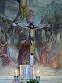 Sant'andrea a rovezzano, int., crocifisso del XVI sec sullo sfondo degli affreschi di luigi ademollo.JPG