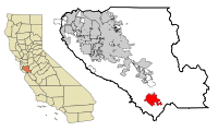 Santa Clara County California Incorporated and Unincorporated areas Gilroy Highlighted.svg