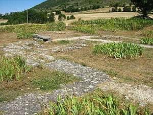 Hermitage of Santa María de Lara - A view of the western side of the church. The ruins of the foundations of the previously sizeable nave can be seen, as well as rooms that provided for the monks who lived in the monastery owned by Santa María de Lara during the 10th century. This part of the church collapsed during the period of time that the church was abandoned, from around 1100.