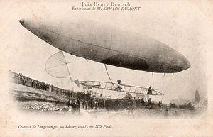 A slim cigar shaped airship