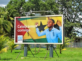 São Tomean Portuguese - Outdoor advertising from Central Bank of São Tomé and Príncipe
