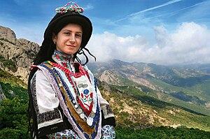 Sarakatsani - Sarakatsani girl in traditional costume; Pindus, Greece.