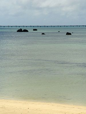 1771 Great Yaeyama Tsunami - Sawada beach on Shimoji island. The rocks are believed to be remnants of the tsunami