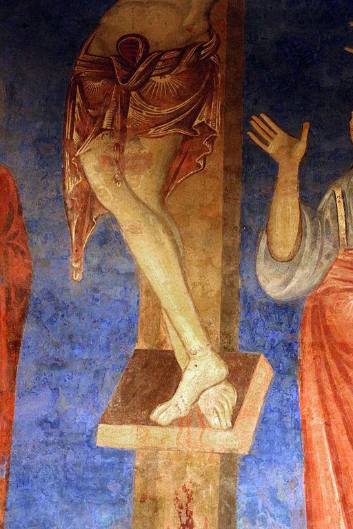 Scuola senese, crocifissione, 1280 circa, particolare