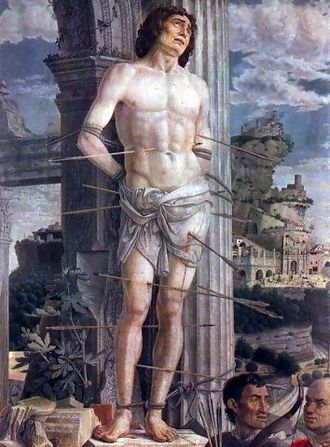 Saint Sebastian - St. Sebastian (detail), Andrea Mantegna, 1480, Musée du Louvre, Paris